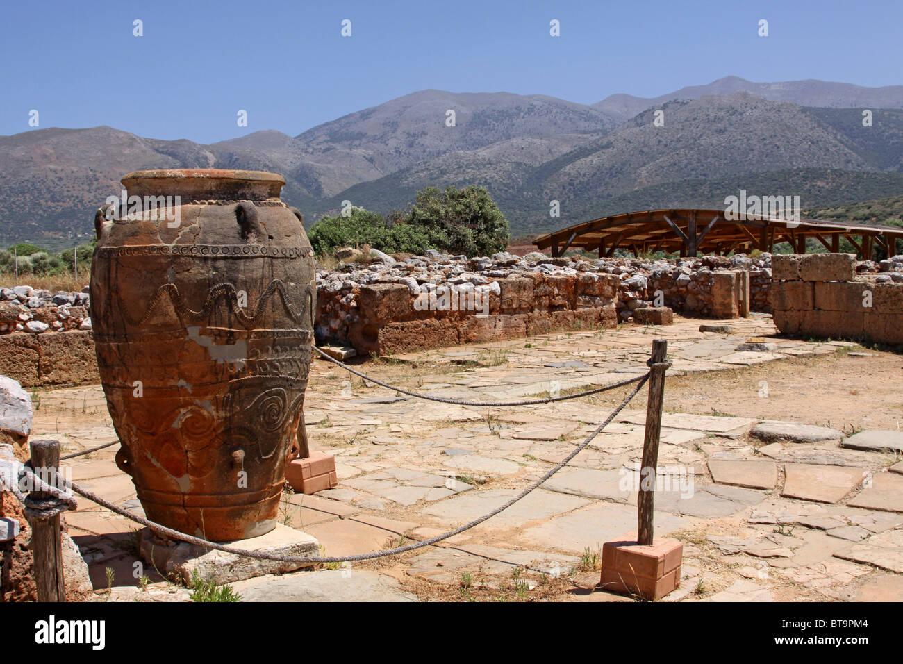Clay jugs and jars, Malia Palace, Minoan excavations, archaeological excavation site, Heraklion, Crete, Greece, Stock Photo
