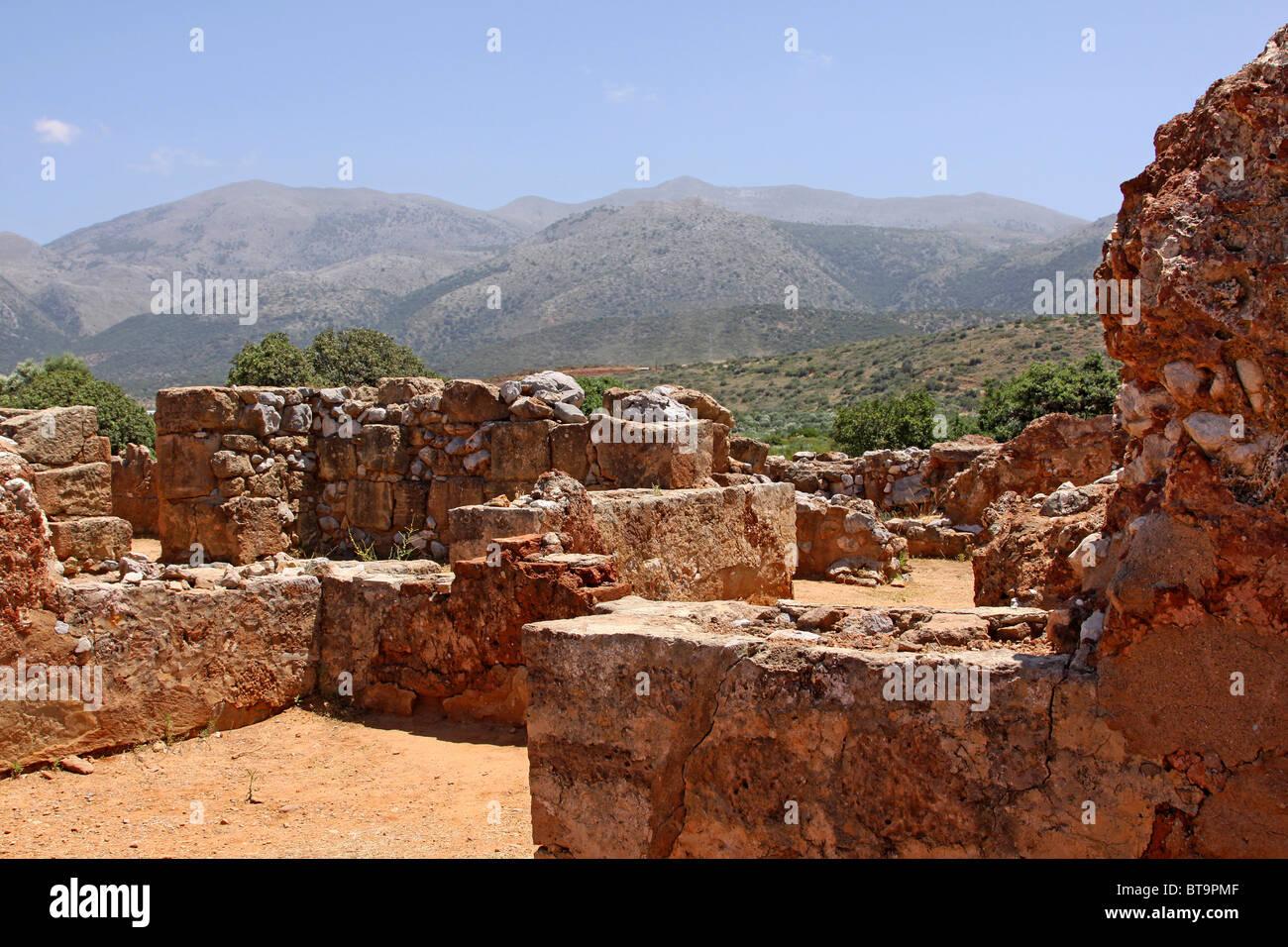 Malia Palace, archaeological excavation site, Minoan palace, Heraklion, Crete, Greece, Europe Stock Photo