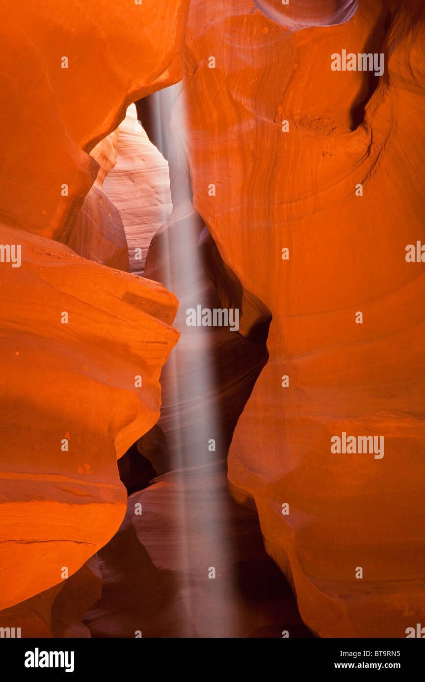Beam of light in Upper Antelope Canyon, Slot Canyon, Page, Arizona, USA - Stock Image