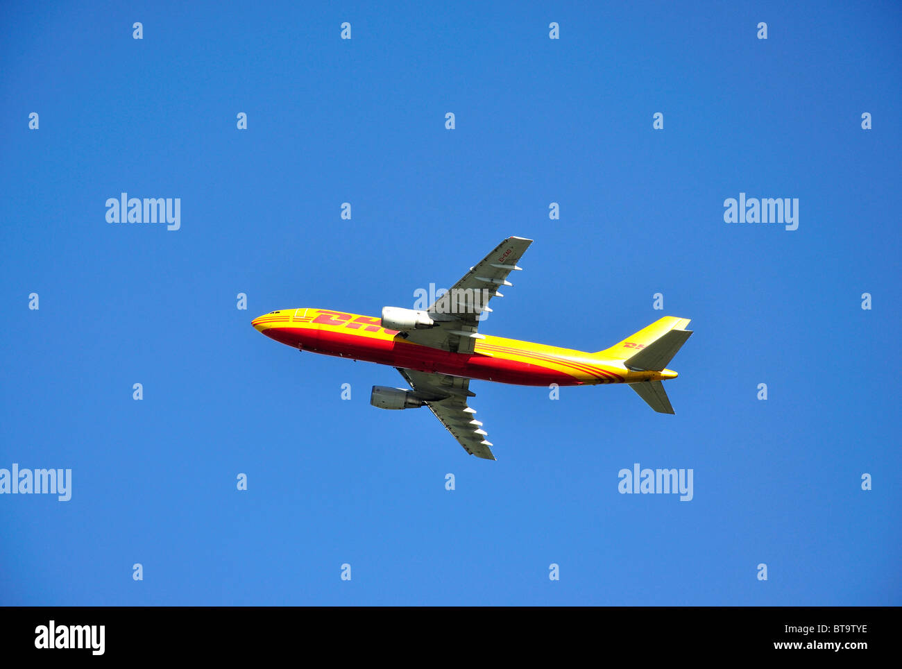 DHL Cargo Boeing 767 aircraft taking off, Heathrow Airport