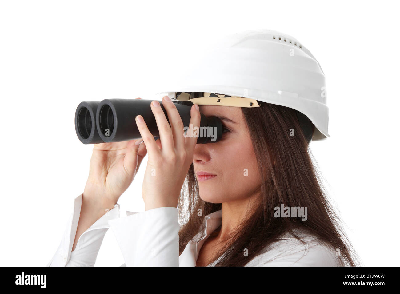 Business vision concept, enginer woman looking throught binoculars, isolated on white Stock Photo