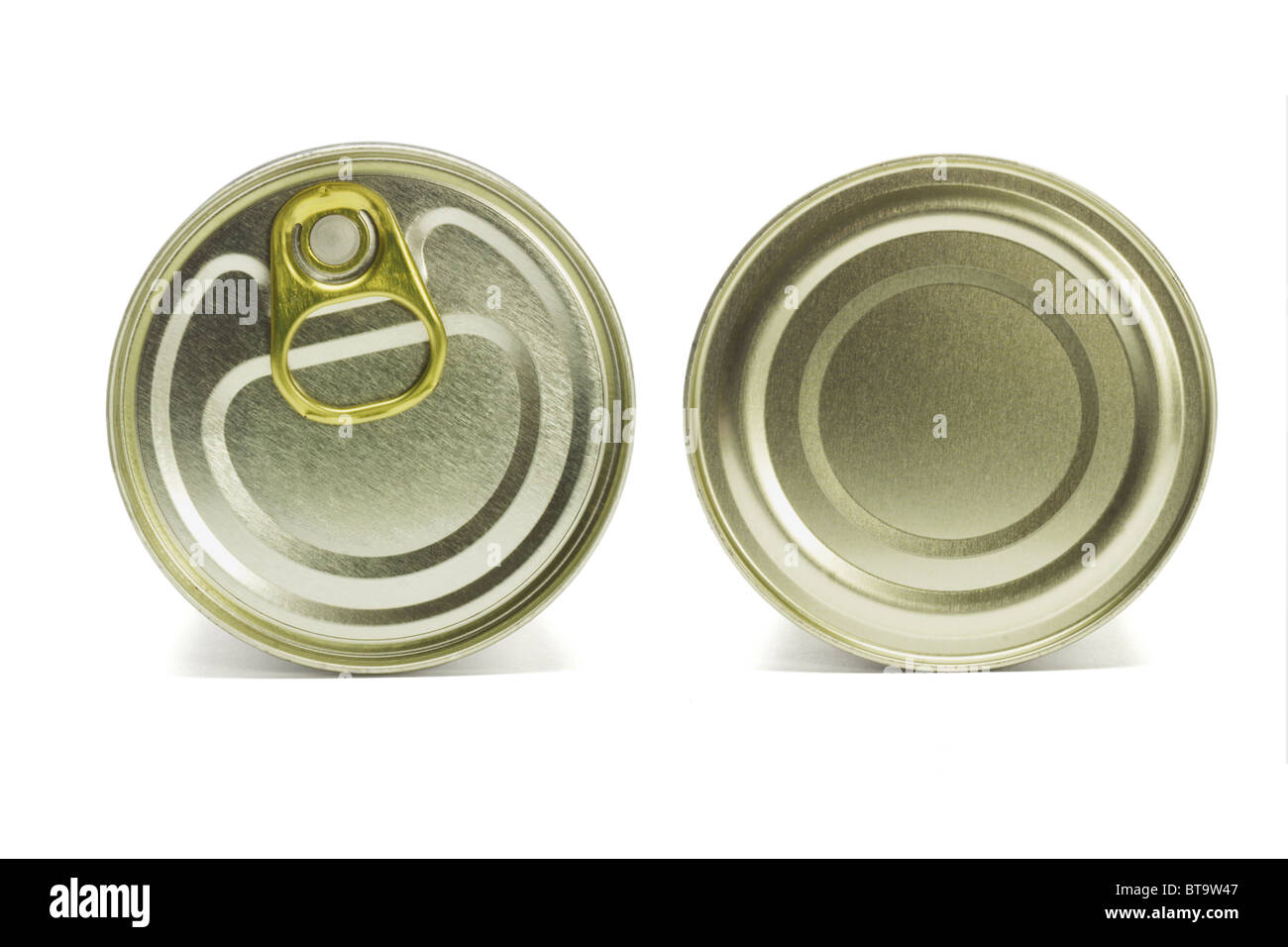 Close up top and under sides of tin can on white background - Stock Image