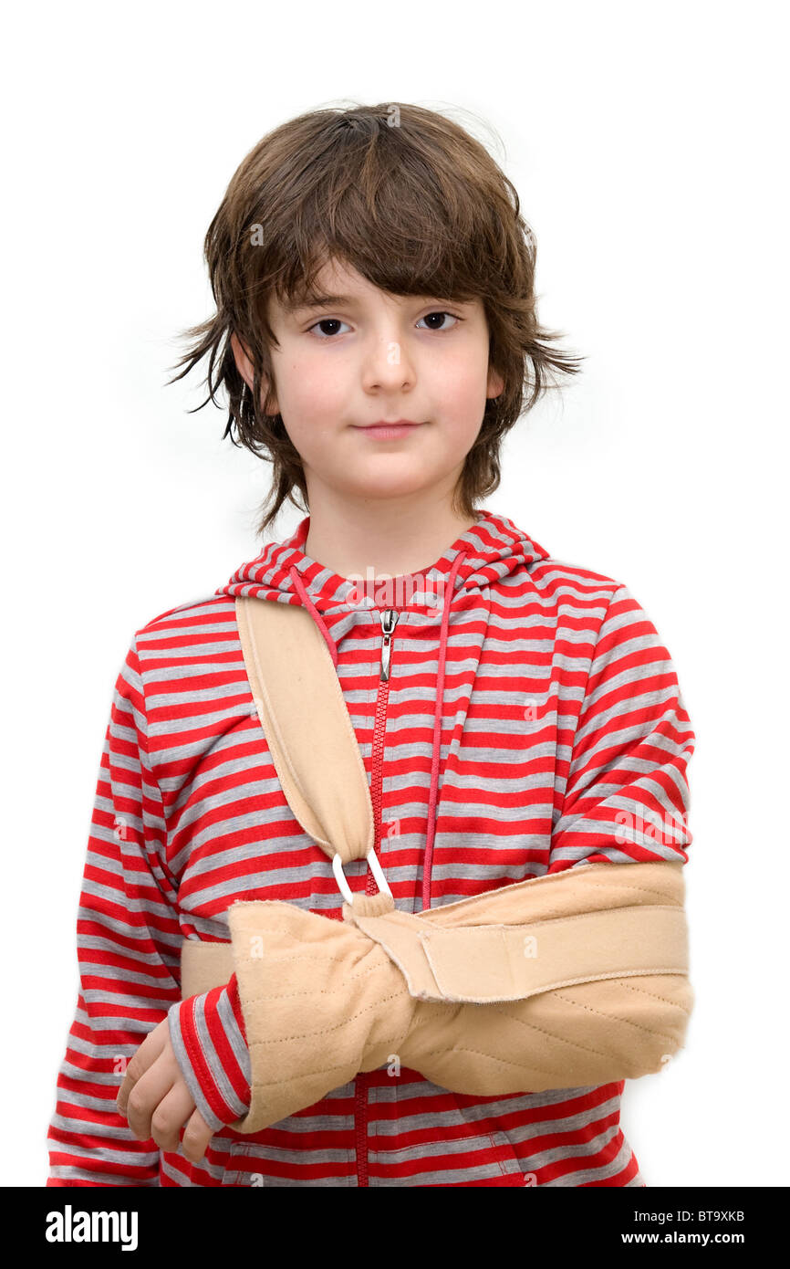 Boy with sling on broken arm isolated on pure white - Stock Image