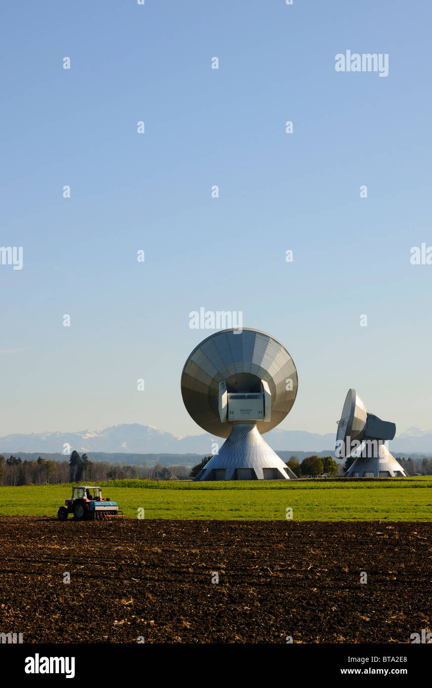 Earth station, parabolic aerials, Raisting, Bavaria, Germany, Europe - Stock Image