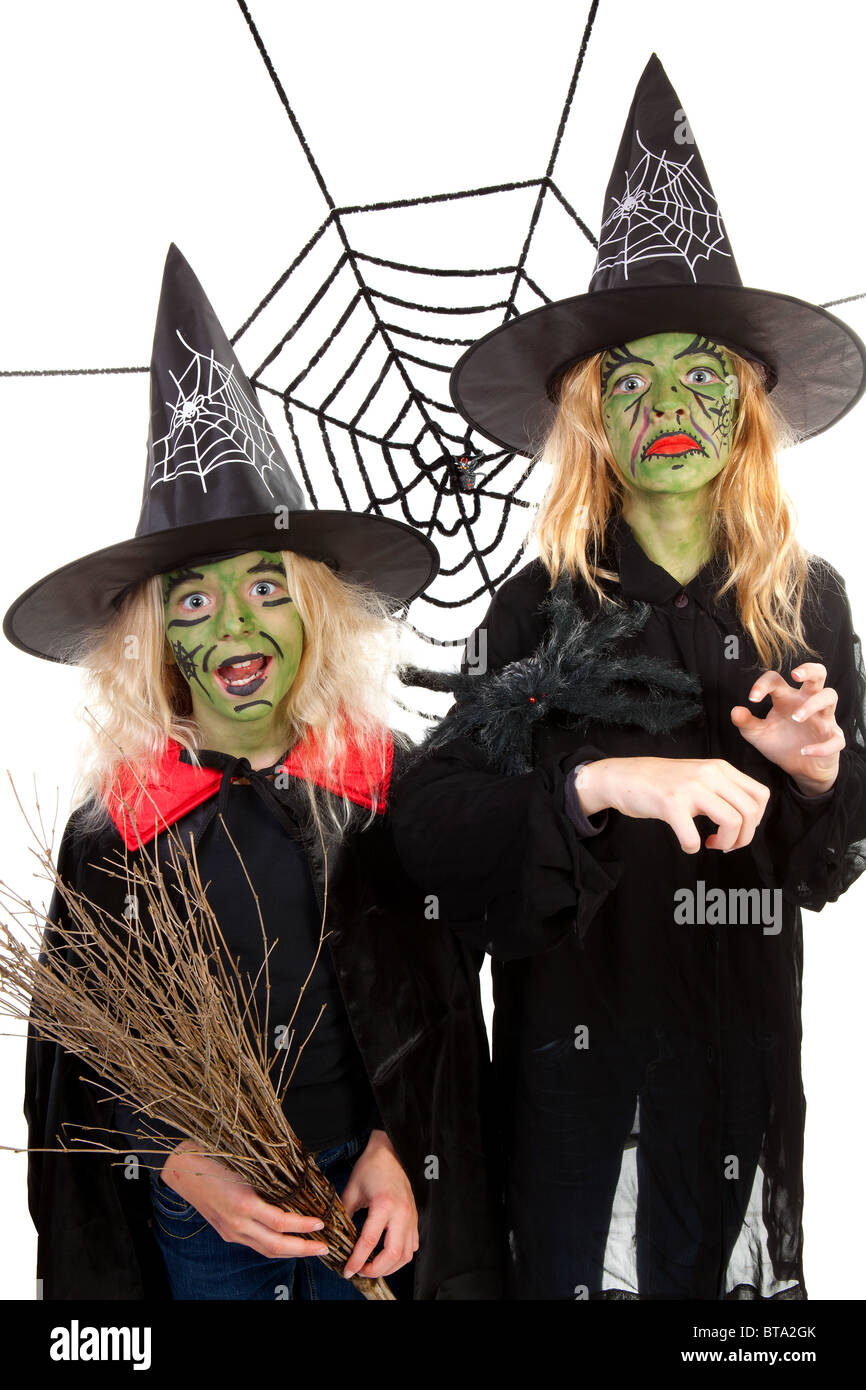 Scary green witches for Halloween with spiderweb over white background - Stock Image