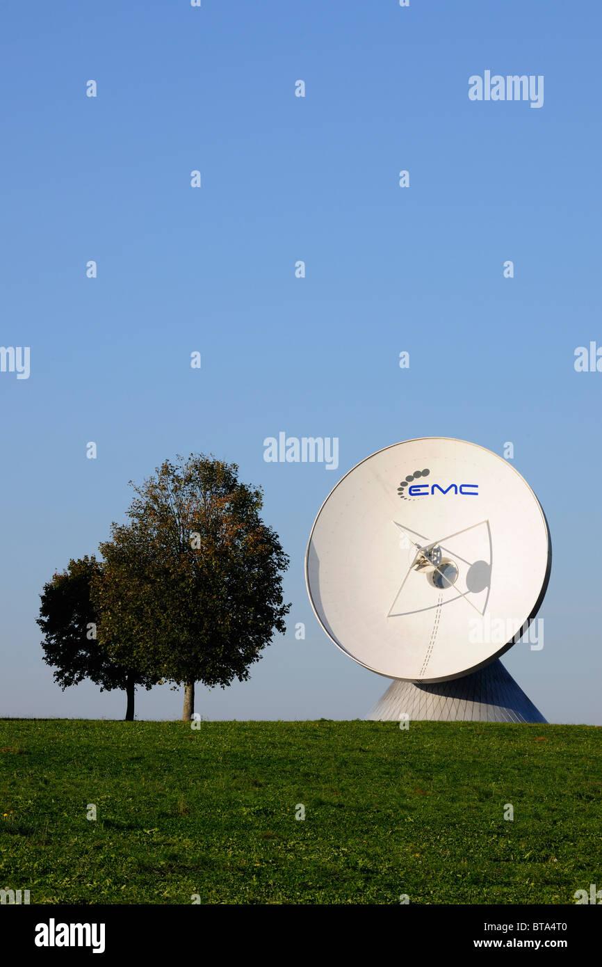 Earth station, parabolic aerial, Raisting, Bavaria, Germany, Europe Stock Photo
