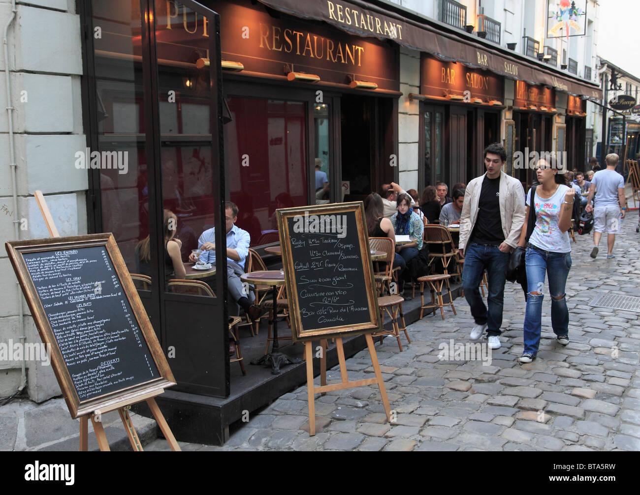 France, Paris, Left Bank, street scene, restaurant, people, - Stock Image