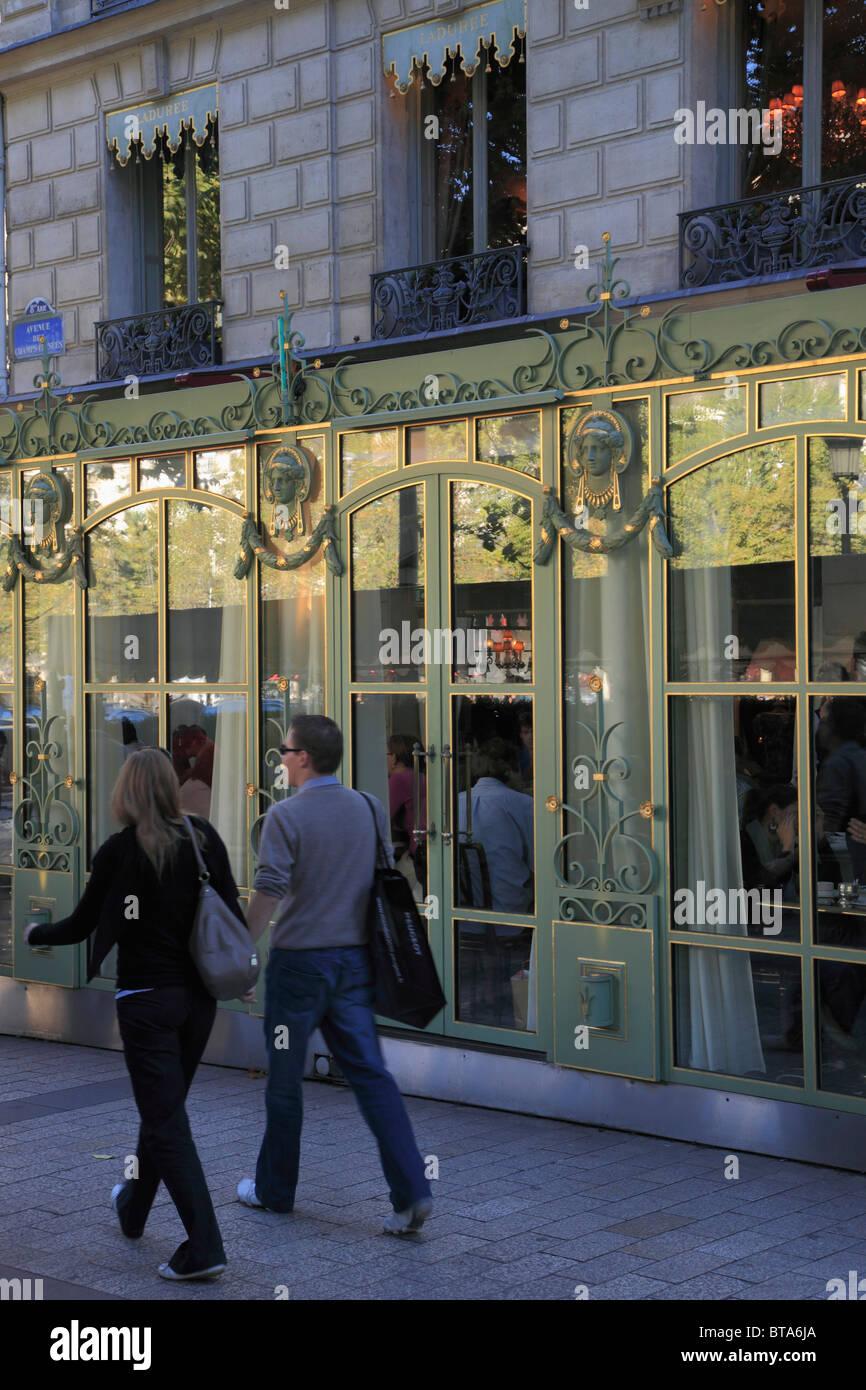 France, Paris, Champs Elysées, Laduree Cafe, people, - Stock Image
