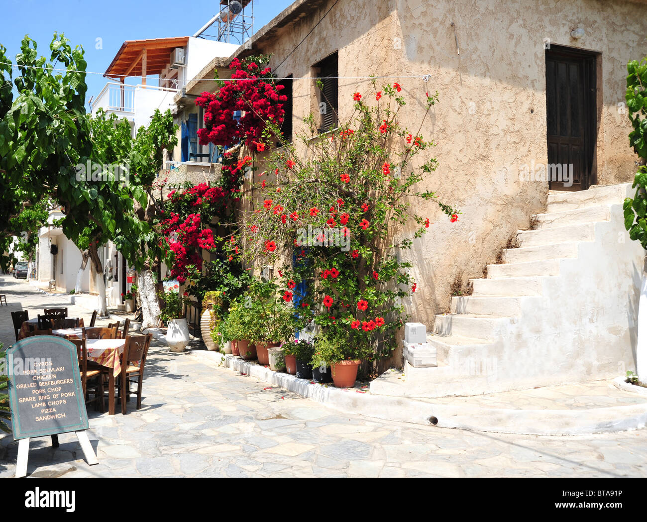 Traditional Cretan village in the summer at Mirtos in southern Crete, Greece - Stock Image