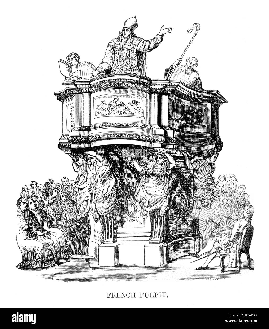 French Pulpit; Black and White Illustration from William Hone's Everyday Book Stock Photo