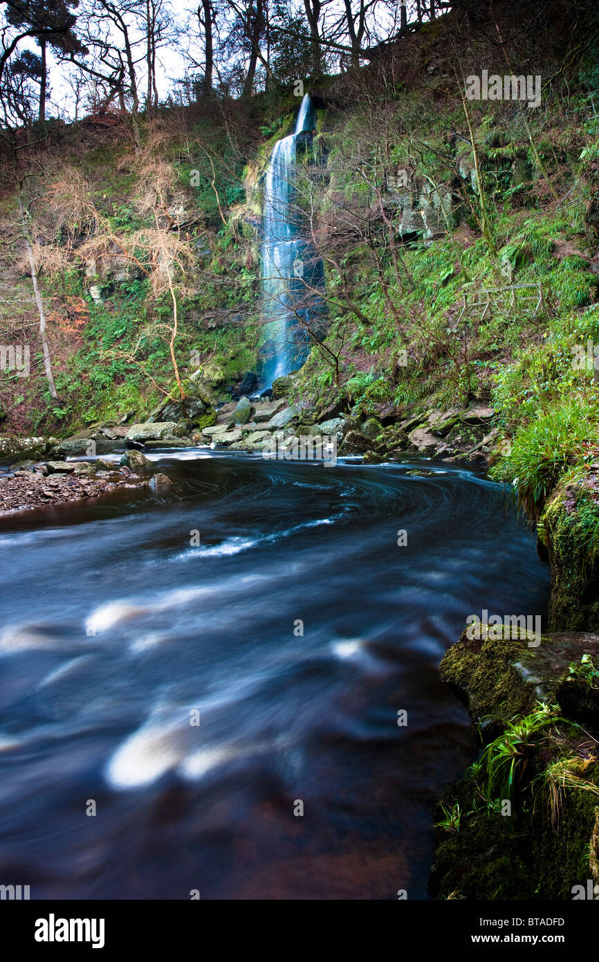 Mallyan Spout Waterfall and West Beck in Winter, near Goathland, North York Moors National Park - Stock Image