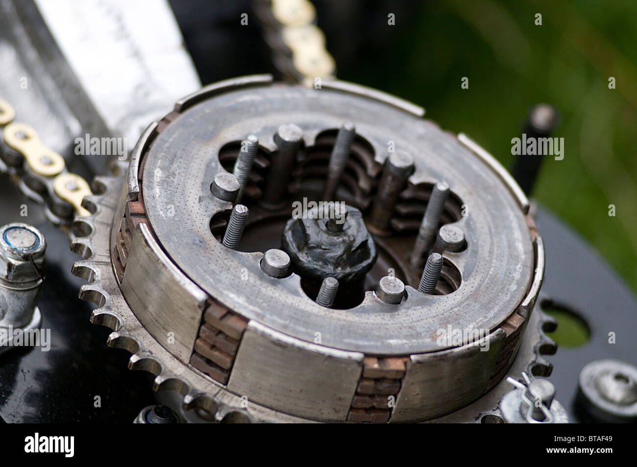 motorcycle clutch clutches basket plates friction plate flywheel pressure plates floater floaters springs pressure - Stock Image