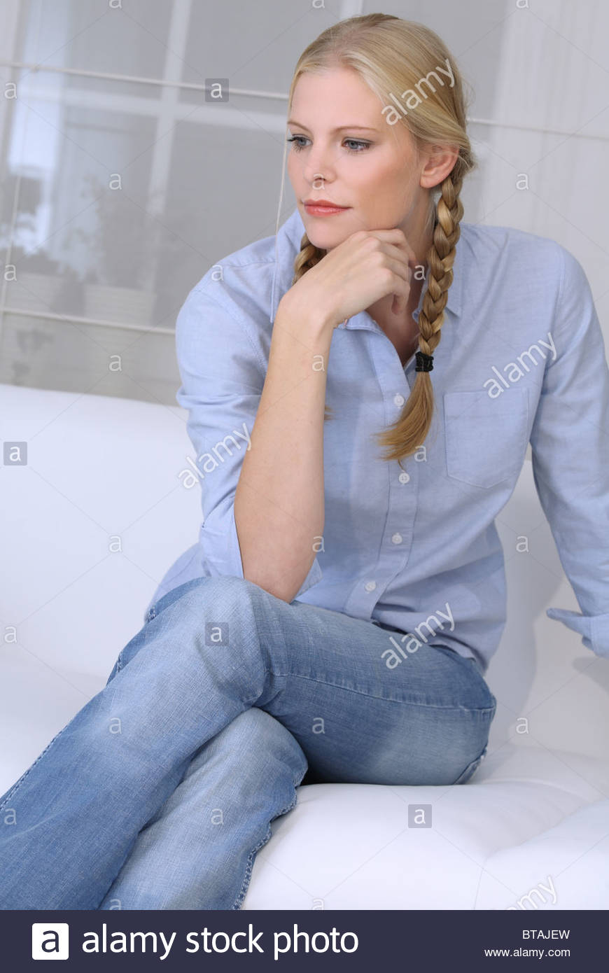 woman thinking about problems - Stock Image