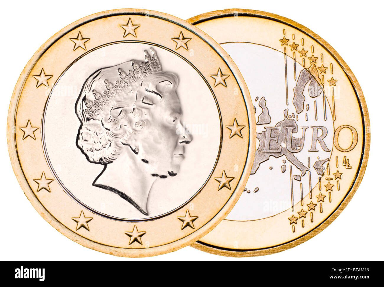 Composite 'British Euro' with queens head on Euro reverse - Stock Image