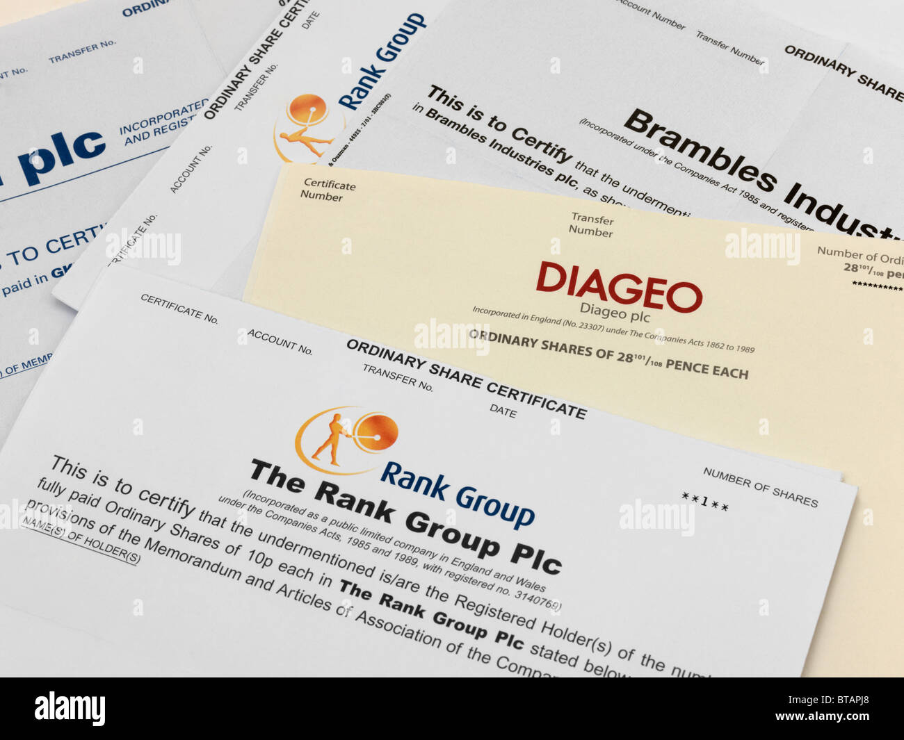 Share Certificates Stock Photo