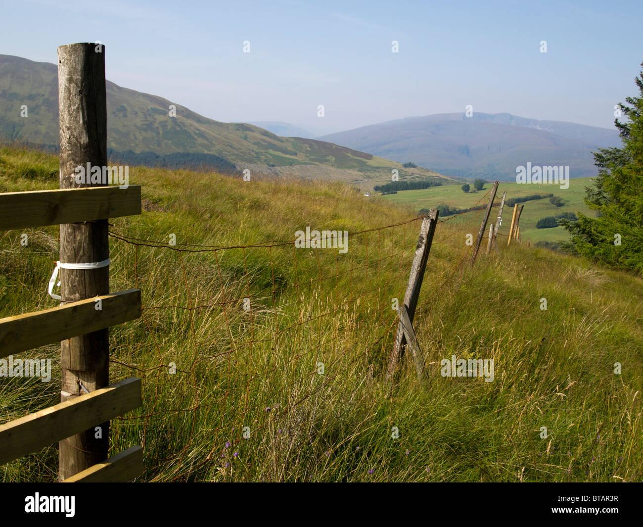fenced pasture, West Highlands, Scotland - Stock Image