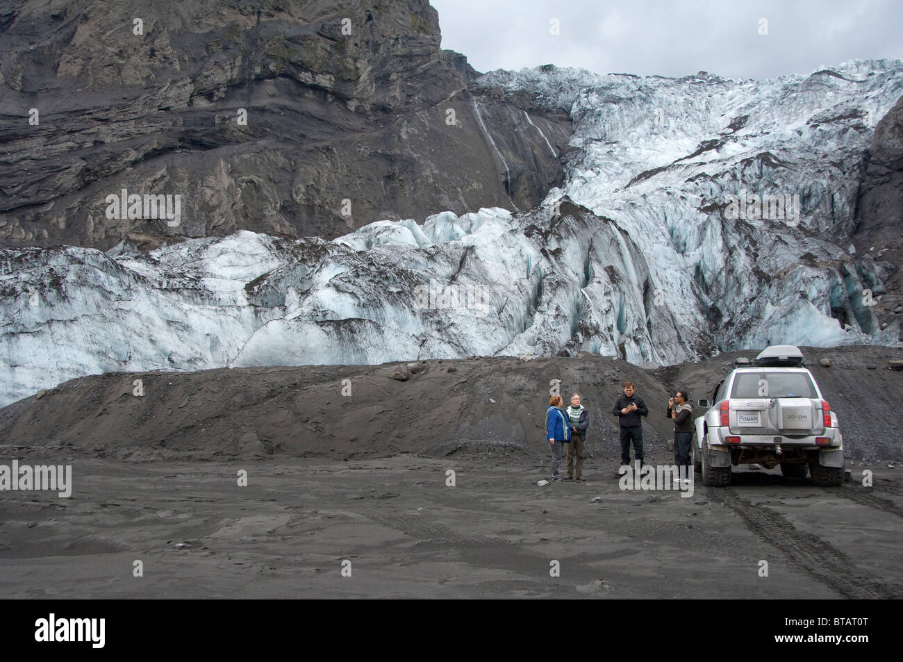 Iceland, Porsmork Park, Gigjokull glacier after the 2010 spring eruption of Eyjafjallajokull volcano. 4x4 jeep tour. - Stock Image