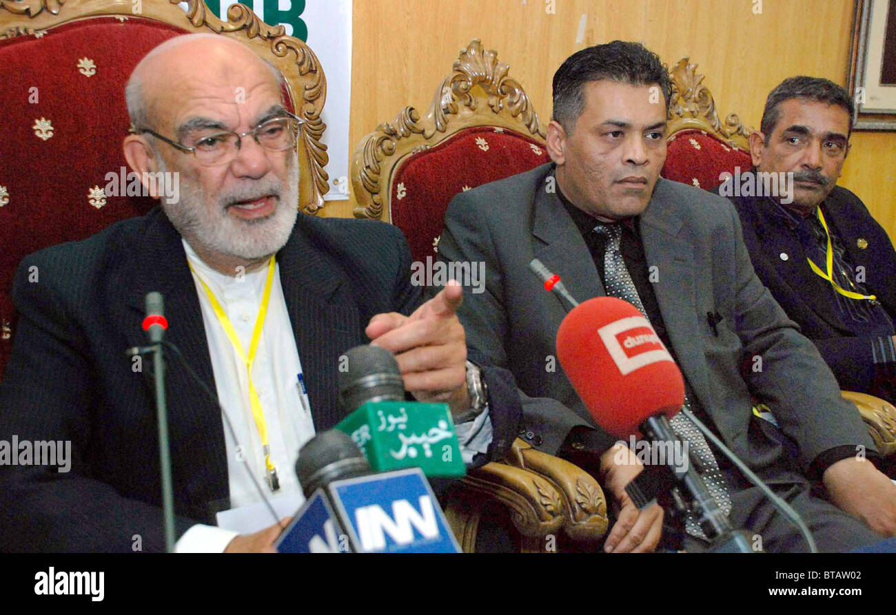 National Paralympics Committee President, Tariq Mustafa gestures during press conference at press club in Islamabad Stock Photo