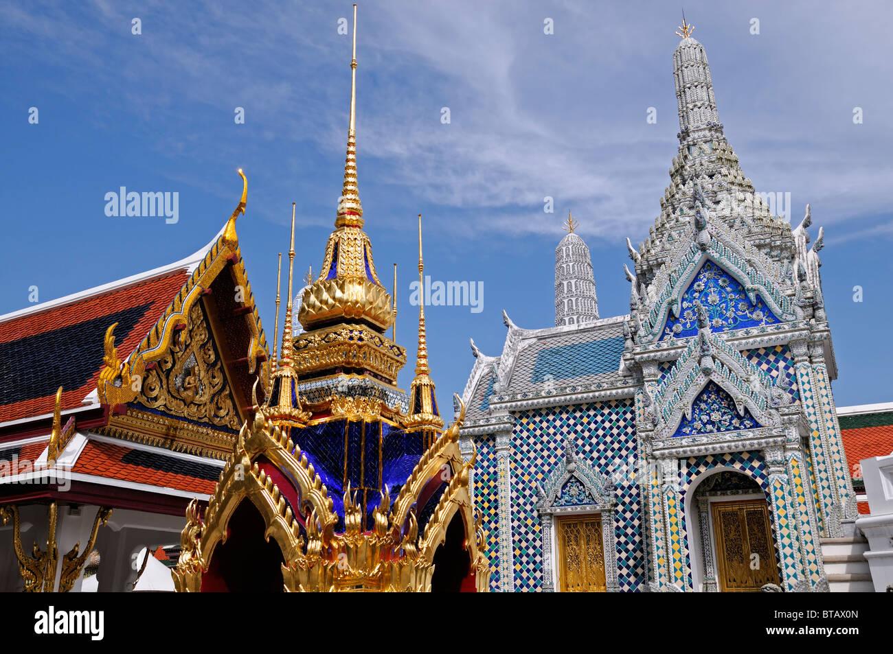The Grand Palace Bangkok Thailand Wat Phra Kaew Temple of the Emerald Buddha Double Sema Stones Bai Sema Stock Photo