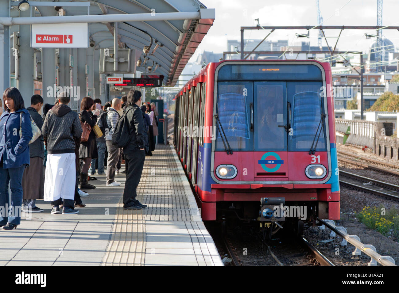 DLR - Docklands Light Railway - Shadwell Station - London - Stock Image