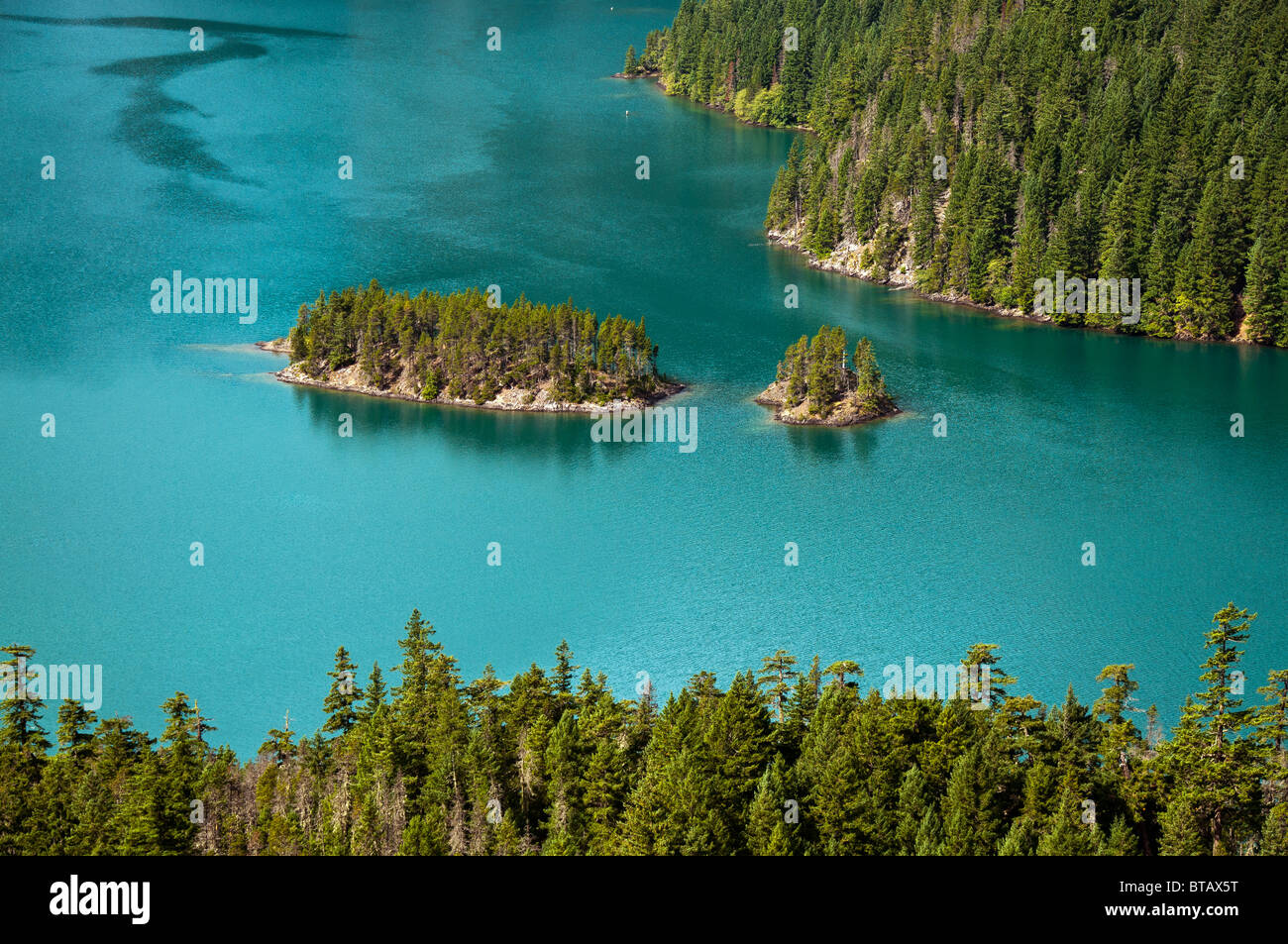 Diablo Lake islands from overlook, Ross Lake National Recreation Area, North Cascades, Washington. - Stock Image