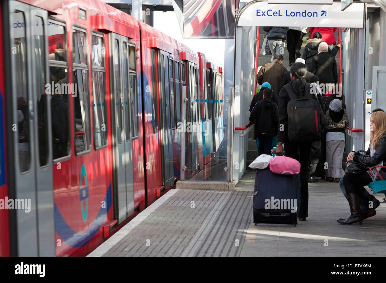 DLR - Docklands Light Railway - Custom House Station - Stock Image