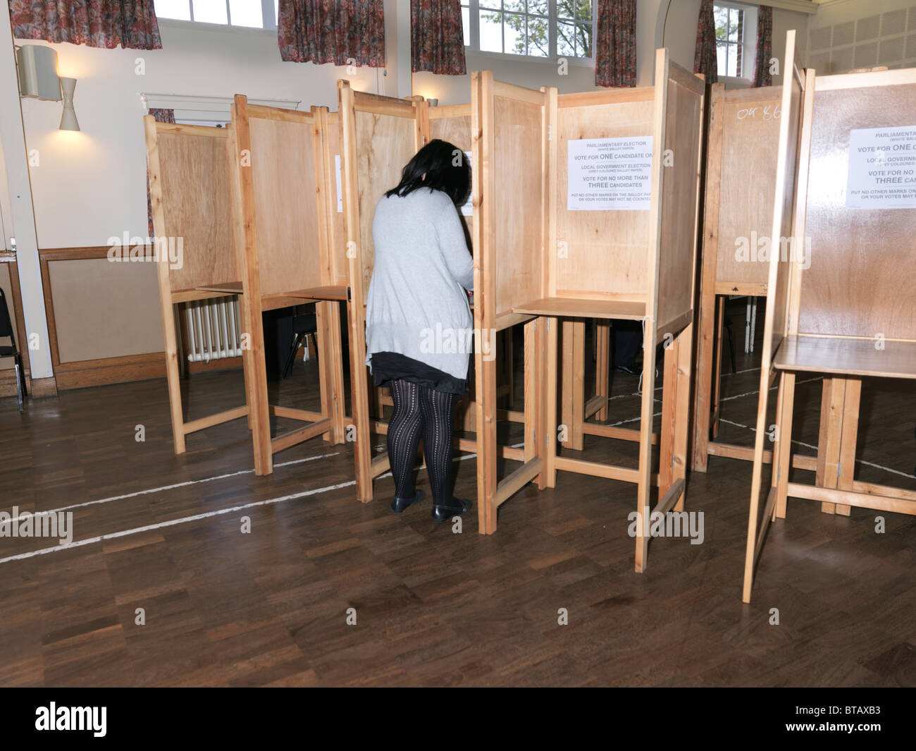 Voting Booth General Election May 2010 in Church Hall England - Stock Image