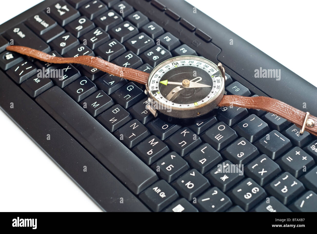 Compass on keyboard - Stock Image