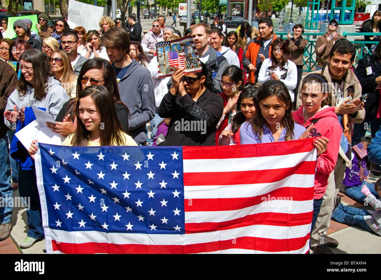 People protest the anti-illegal immigration Arizona Senate Bill 1070 in Boise, Idaho, USA. - Stock Image