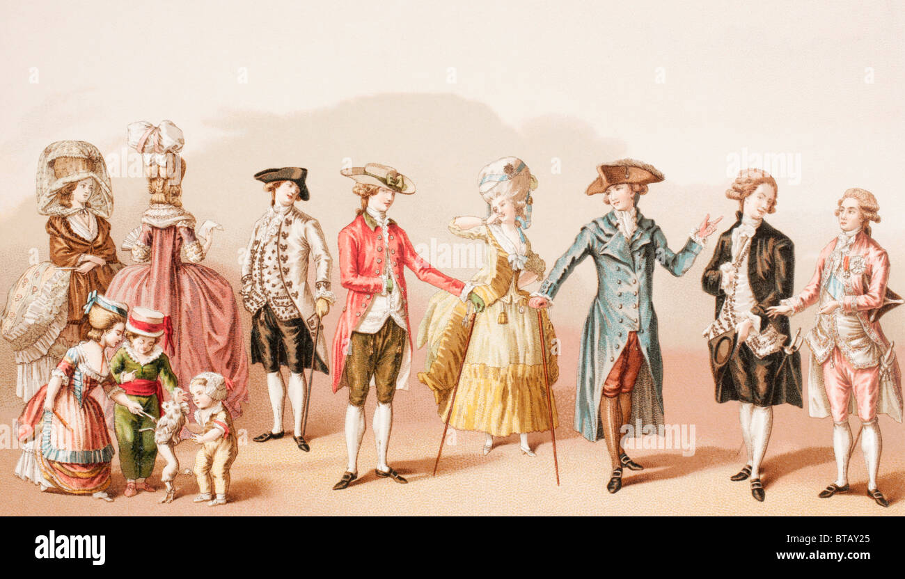 French men's fashions during the reign of Louis XVI. - Stock Image