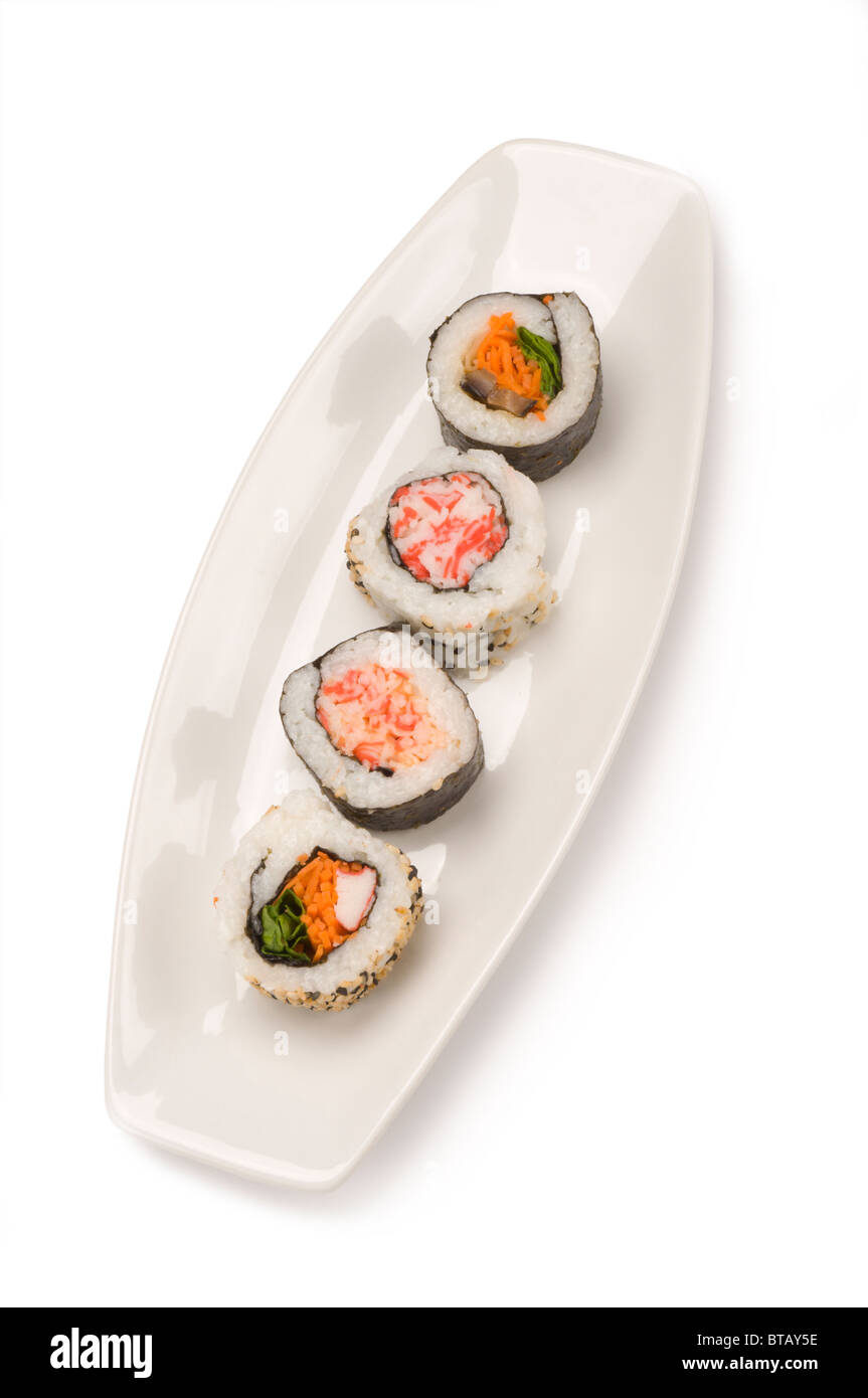 Plate of sushi - Stock Image