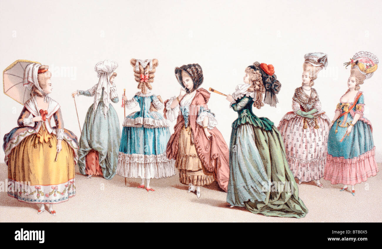 French women's fashions during the reign of Louis XVI. - Stock Image