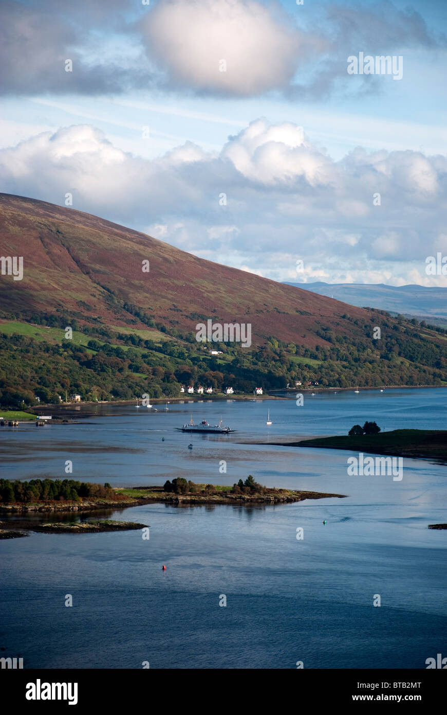 The Cal Mac Ferry in the Kyles of Bute from above Tighnabruaich Argyll West Western Highlands of Scotland United - Stock Image