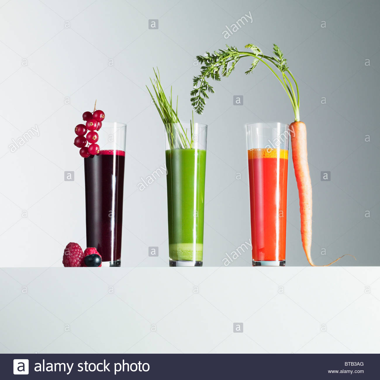 Variety of fruit and vegetable juices - Stock Image