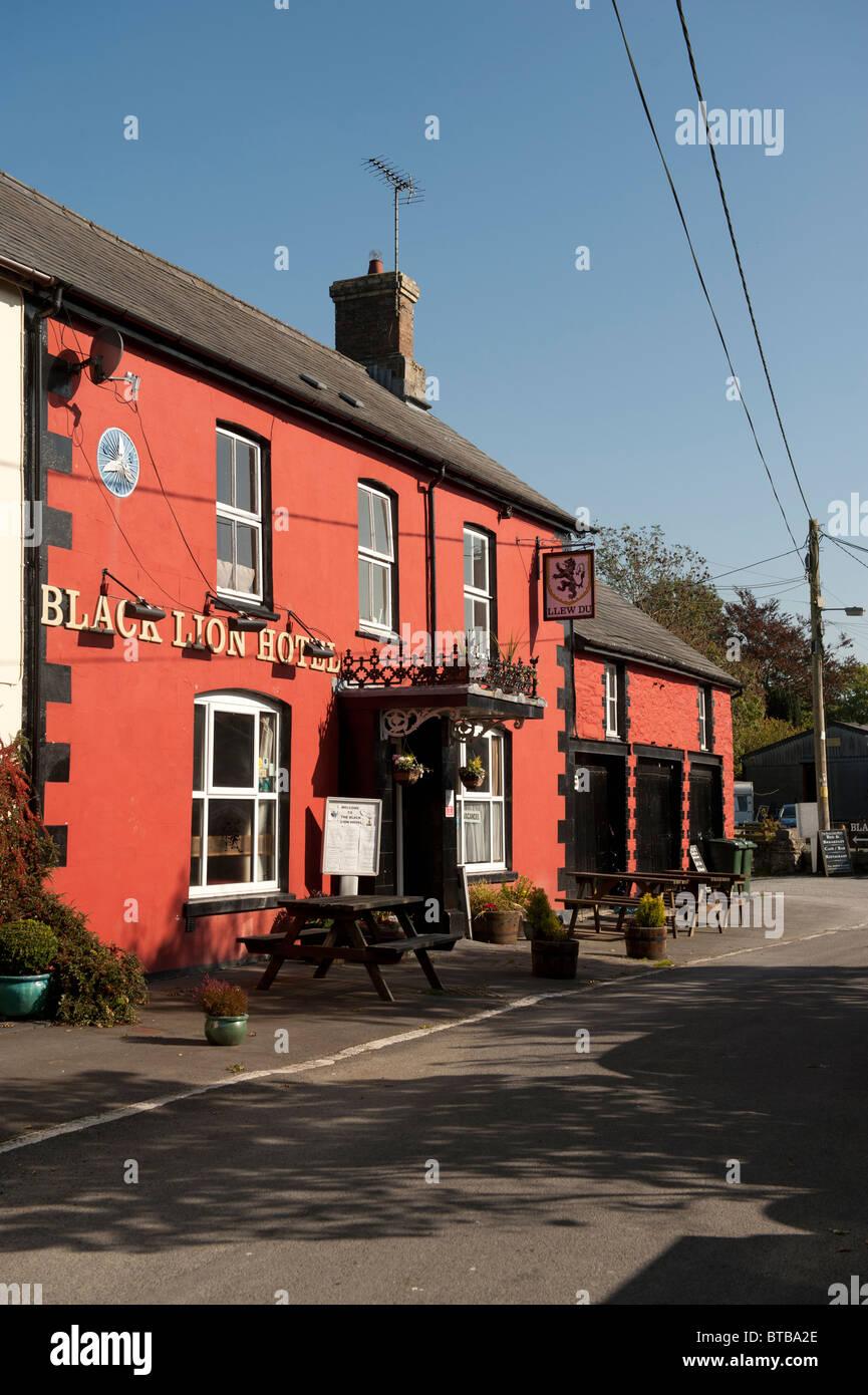 The Old Black Lion hotel pub, Pontrhydfendigaid village, Wales UK - Stock Image