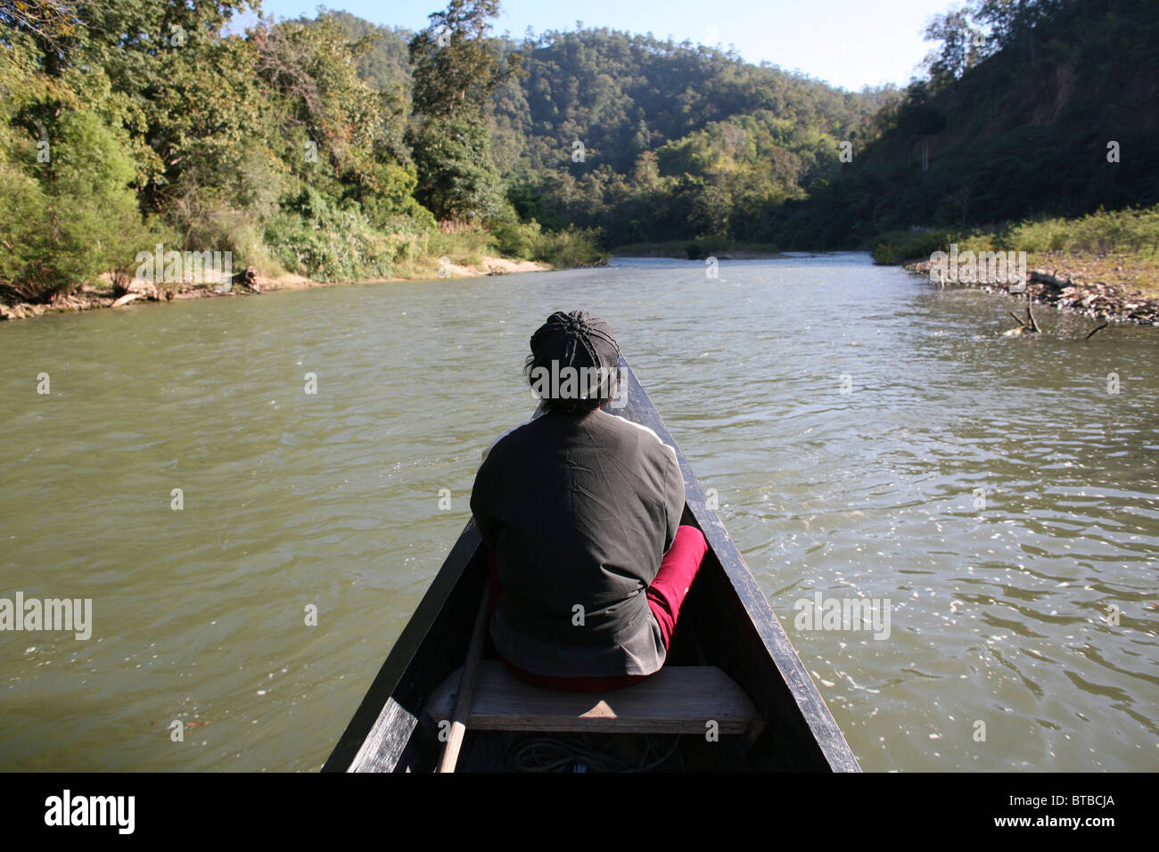 river between thailand and burma Stock Photo