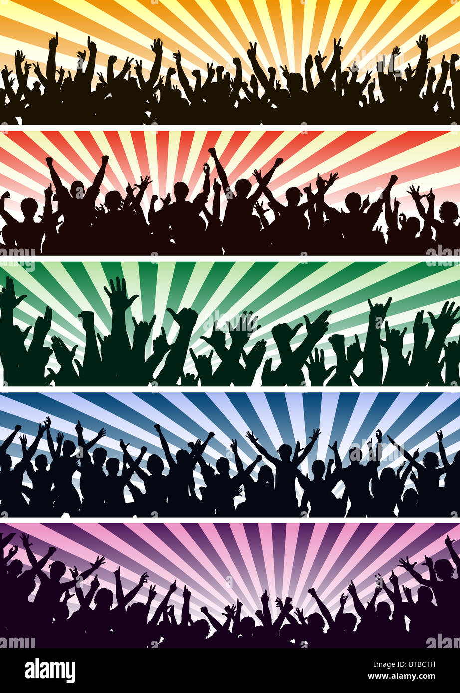 Set of illustrated concert crowd silhouettes - Stock Image
