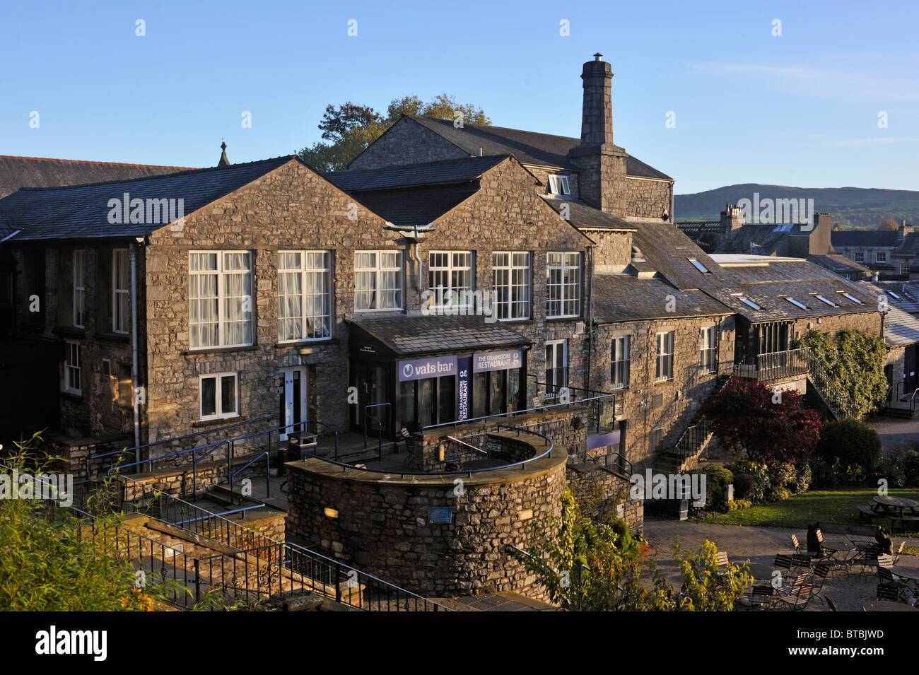 Vats Bar and the Grainstore Restaurant. The Brewery Arts Centre, Highgate, Kendal, Cumbria, England, United Kingdom, - Stock Image