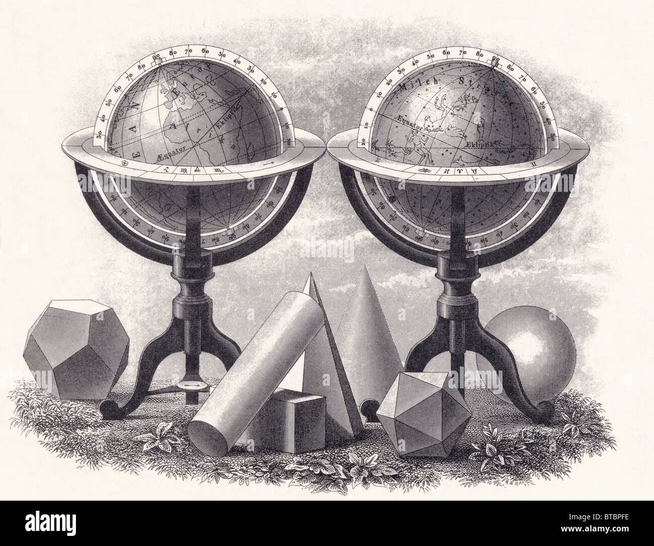 Globes of the Earth and the Heavens surrounded by geometrical forms. - Stock Image