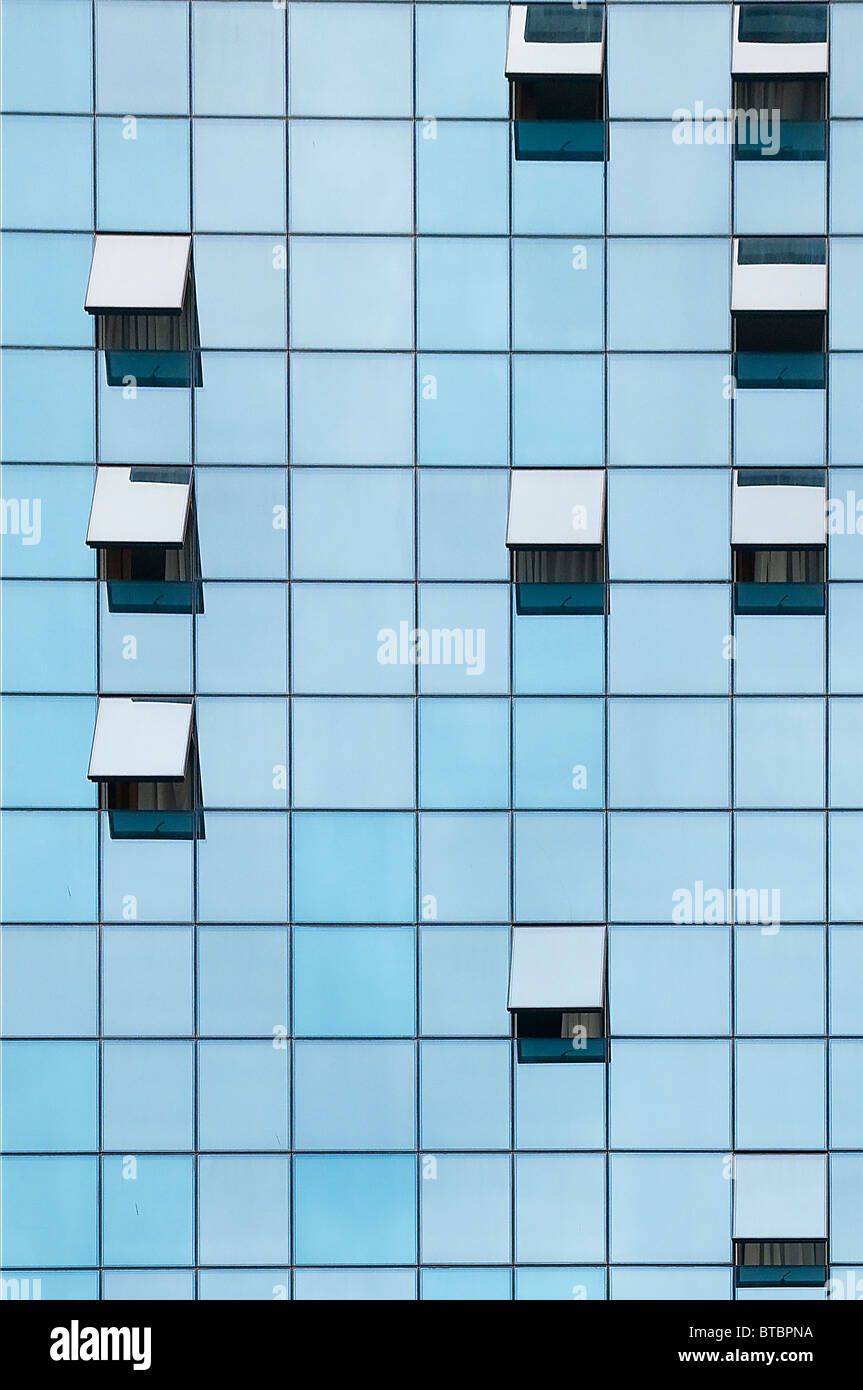 building with open windows - Stock Image