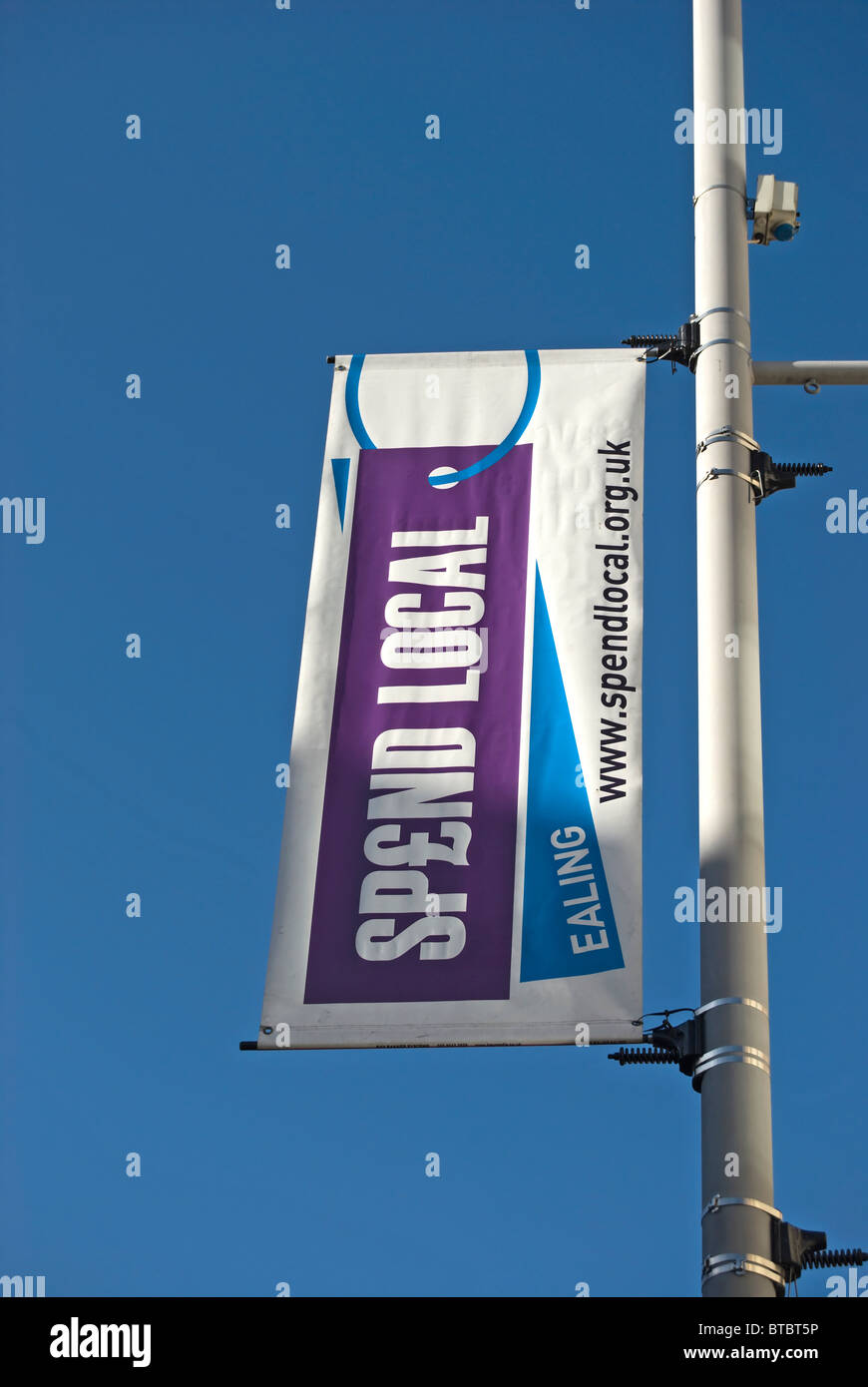 banner for spend local, a council shopping initiative in ealing west london to encourage conumers to use local shops - Stock Image