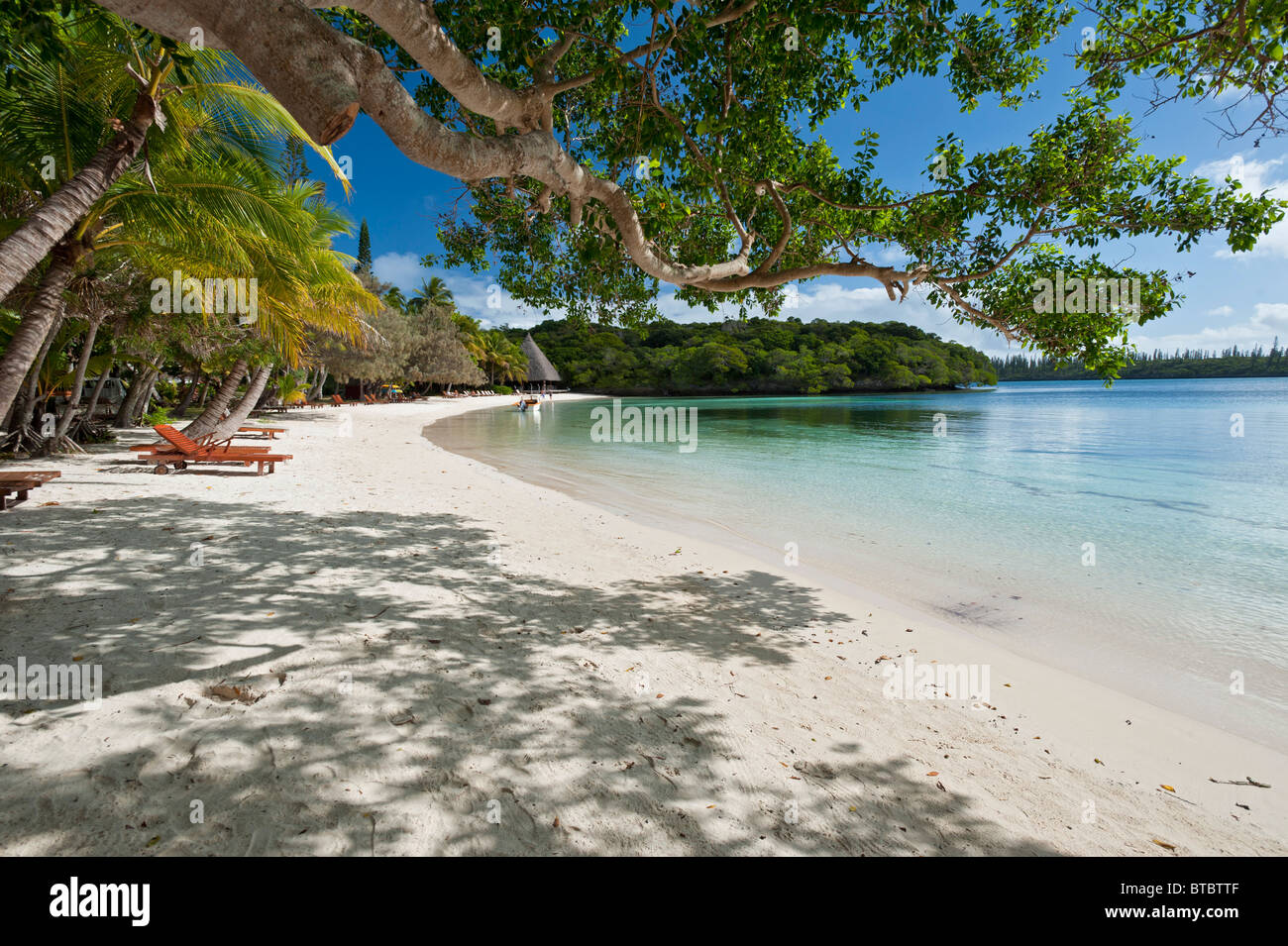 The Perfect Beach at Kanumera Bay, Isle of Pines, New Caledonia, South Pacific - Stock Image