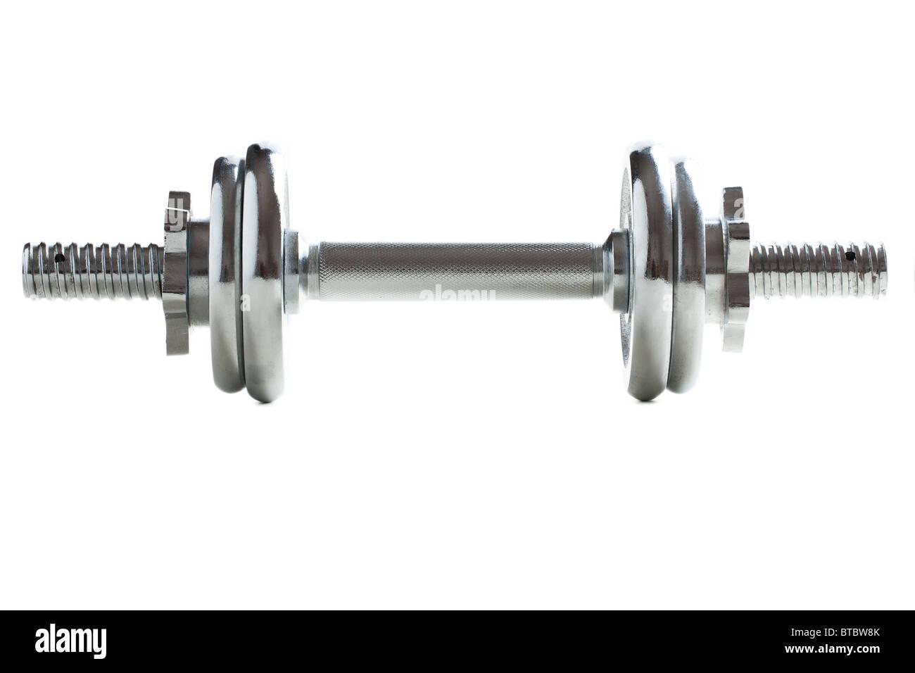 chrome dumbell on white background - Stock Image