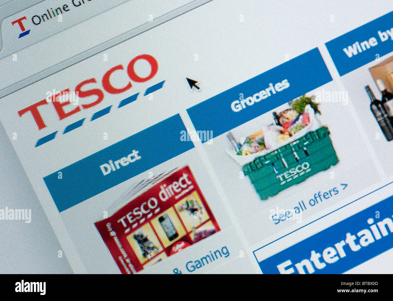 Detail of screenshot from website of Tesco home shopping and delivery service - Stock Image