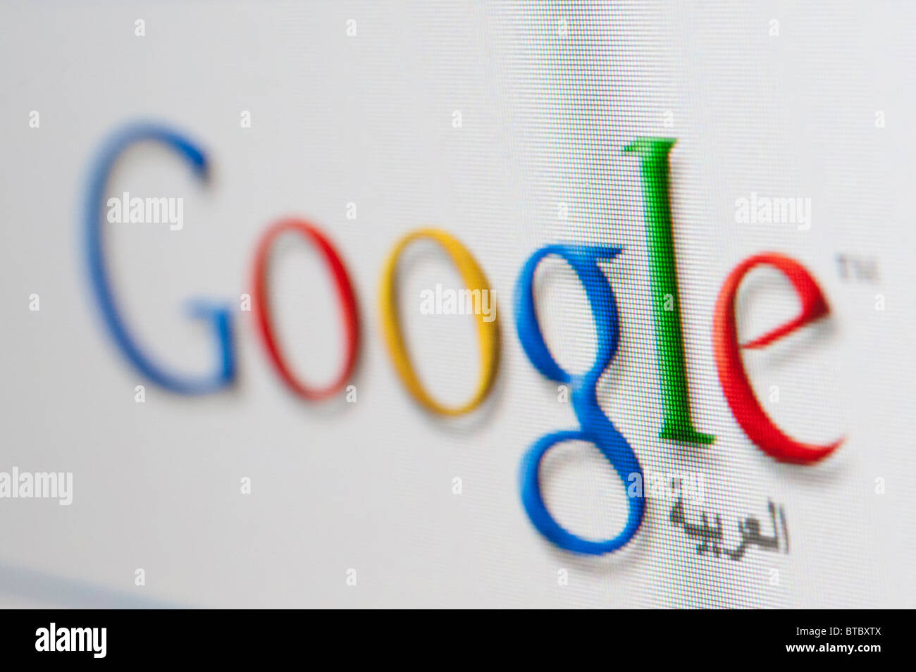 Screenshot from homepage of Google arabic search engine website - Stock Image