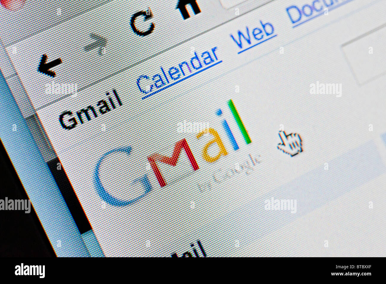 Screenshot from homepage of Google Gmail email website - Stock Image