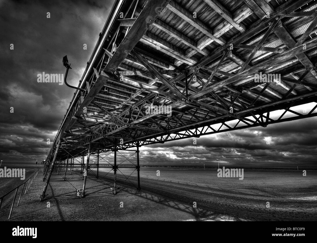 black and white hdr of southport - Stock Image