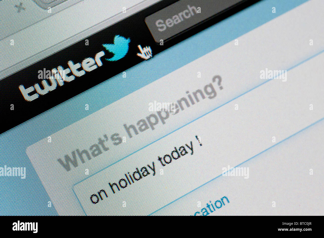 Detail of screenshot from website of Twitter instant messaging website - Stock Image