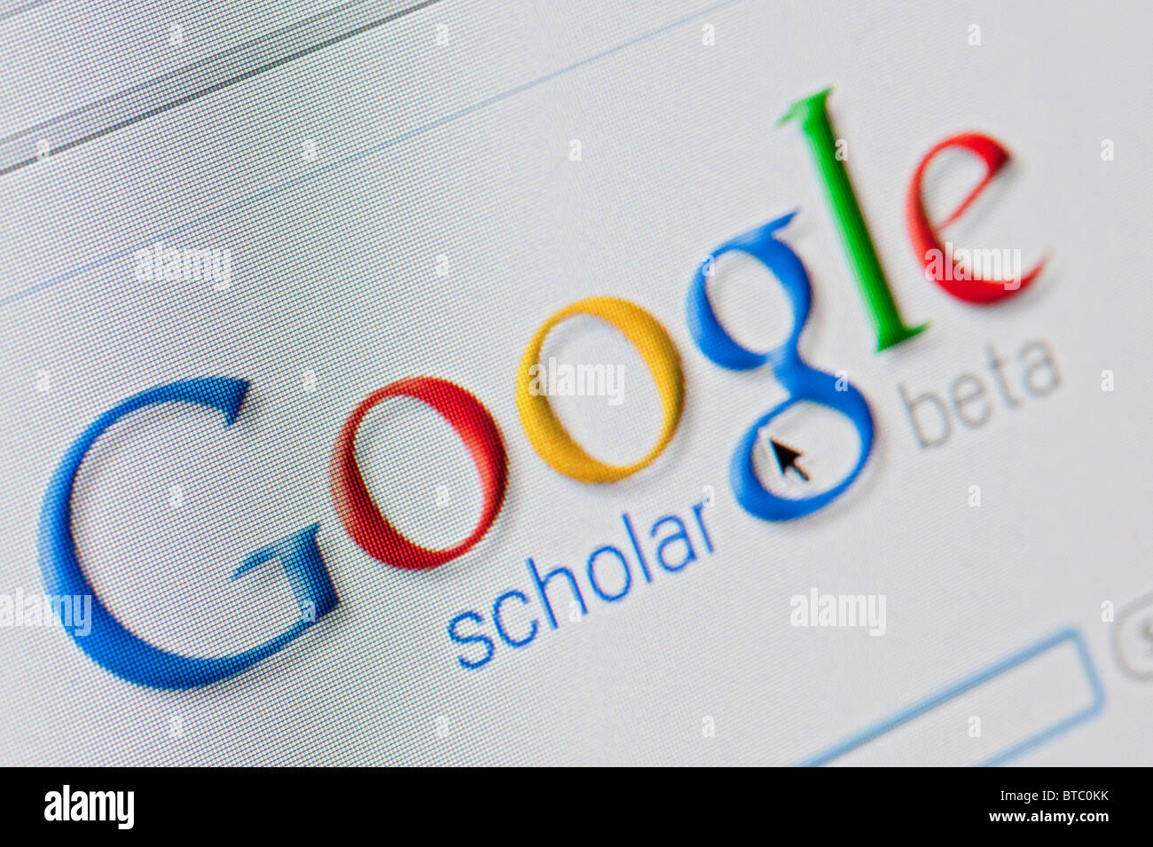 Screenshot from homepage of Google scholar search engine - Stock Image