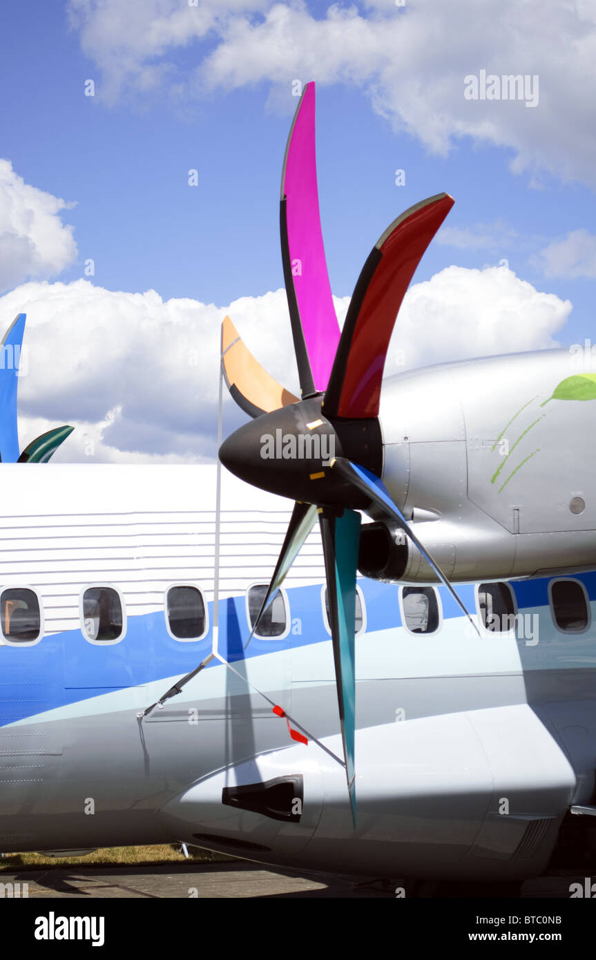 Propeller on an ATR ATR-72-600 turboprop airliner on static display at Farnborough Airshow 2010 - Stock Image